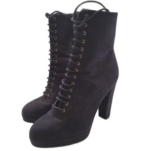 H&M Faux Suede Lace Up Heeled Ankle Boots